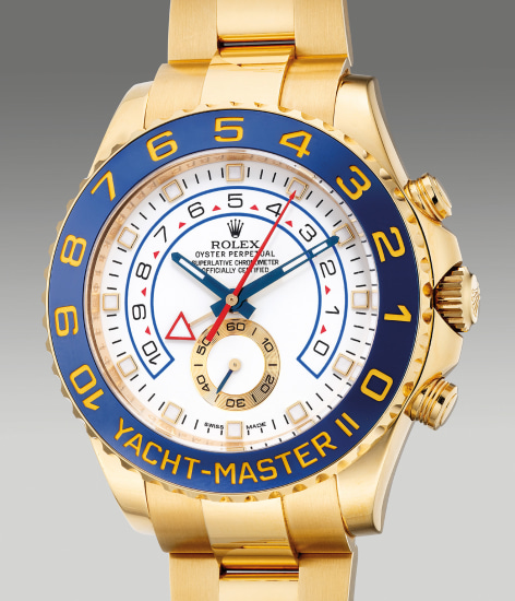 A fine and attractive yellow gold regatta chronograph wristwatch with retrograde countdown, center seconds, bracelet, guarantee and box