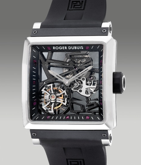 A fine titanium limited edition square-shaped skeletonized wristwatch with flying tourbillon escapement and ruby-set indexes, numbered 78 of a limited edition of 280 pieces