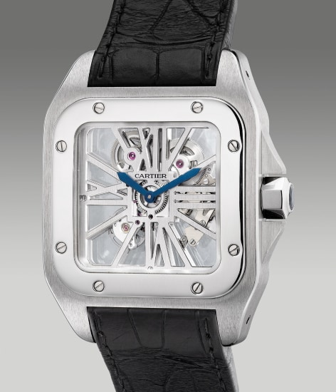 A fine, attractive and large palladium square-shaped skeletonized wristwatch with box