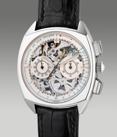A fine and attractive limited edition platinum skeletonized chronograph wristwatch with pulsation scale, numbered 15 of a limited edition of 30 pieces