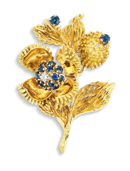A Sapphire and Diamond 'Thistle' Brooch