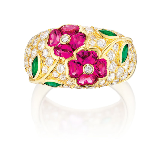 A Gem-set and Diamond Ring