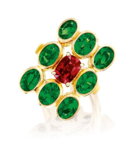 A Ruby and Tsavorite Garnet Ring