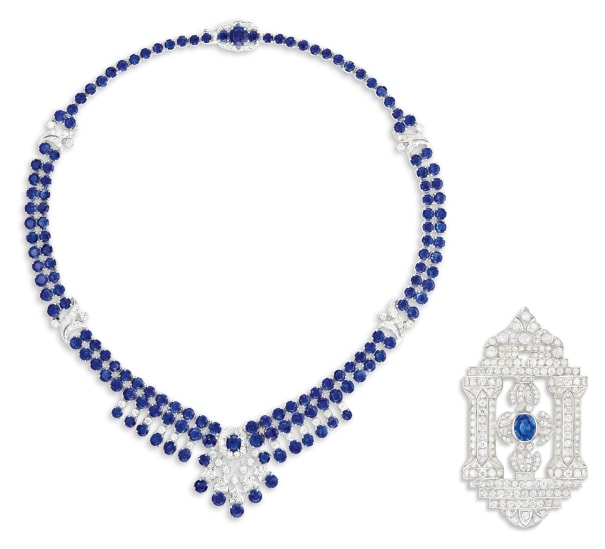 A Sapphire and Diamond Necklace; and A Sapphire and Diamond Brooch