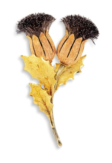 A 18 Karat Gold 'Thistle' Brooch
