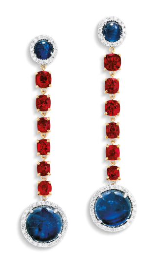 A Pair of Sapphire, Red Spinel and Diamond Pendent Earrings