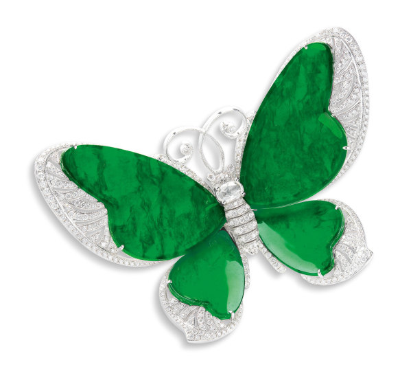 A Jadeite and Diamond 'Butterfly' Brooch