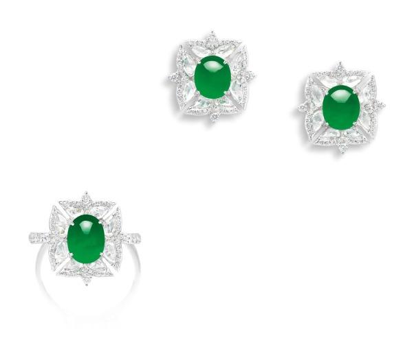 A Jadeite Cabochon and Diamond Demi-Parure