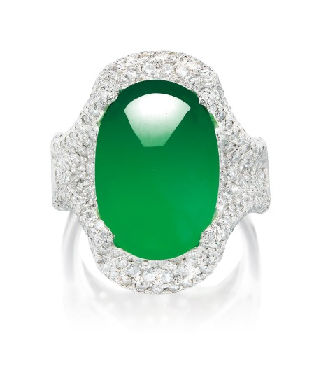 A Jadeite Cabochon and Diamond Ring