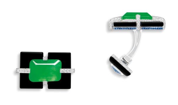 A Pair of Jadeite, Onyx and Diamond Cufflinks