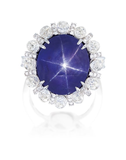 A Colour-changing Star Sapphire and Diamond Ring