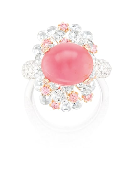 A Conch Pearl, Pink Diamond and Diamond Ring