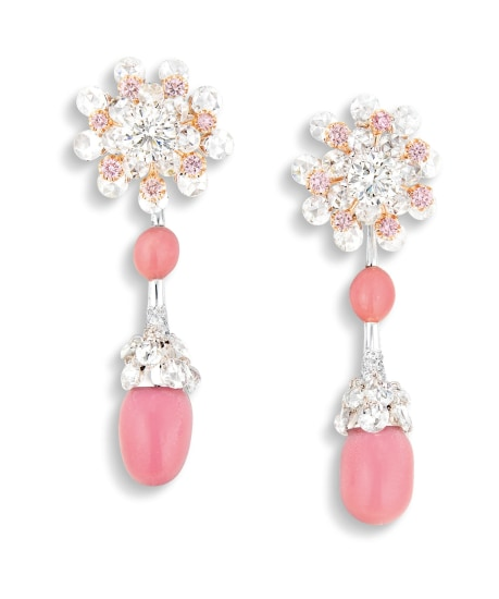 A Pair of Conch Pearl, Pink Diamond and Diamond Pendent Earrings