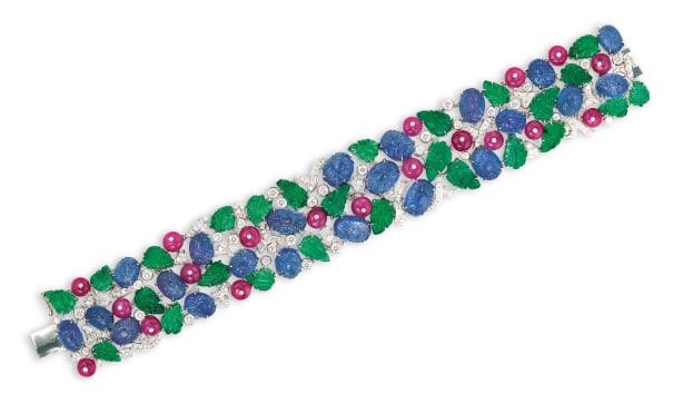 A Gem-set and Diamond Bracelet