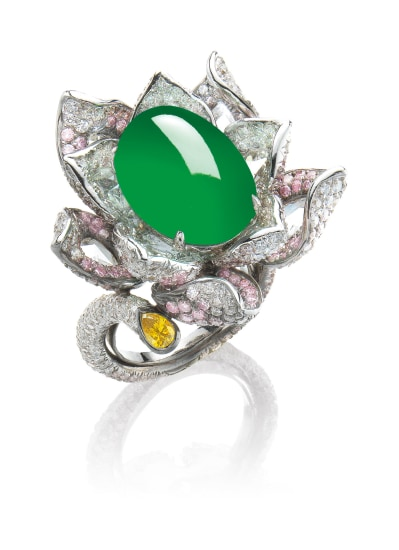 A Jadeite Cabochon and Diamond 'Flower' Ring