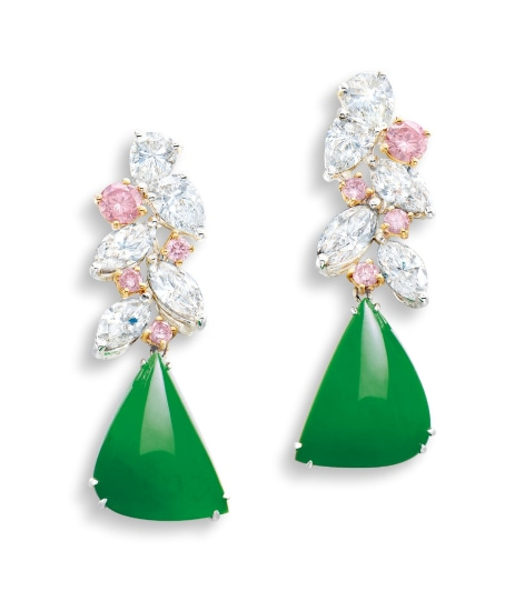 A Pair of Jadeite, Pink Diamond and Diamond Pendent Earrings