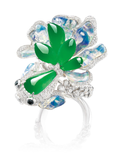 A Whimsical Jadeite, Opal and Diamond 'Fish' Ring/Pendant