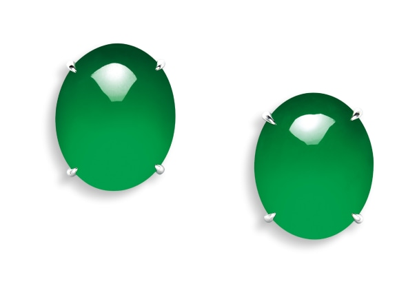A Very Fine Pair of Jadeite Cabochon Earrings