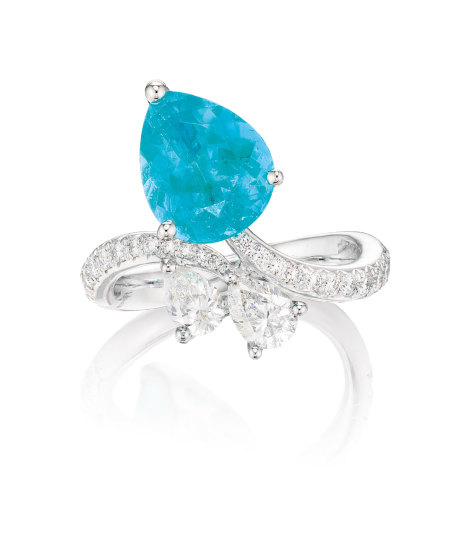 A Paraíba Tourmaline and Diamond Ring
