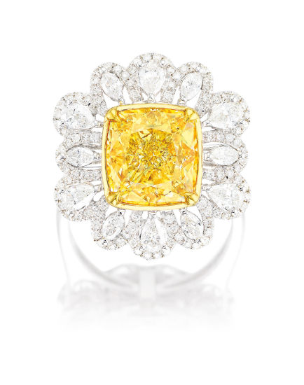 A Fancy Yellow Diamond and Diamond Pendant Necklace/ Ring