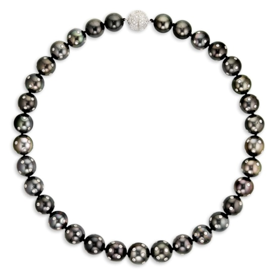 A Black Cultured Pearl and Diamond Necklace