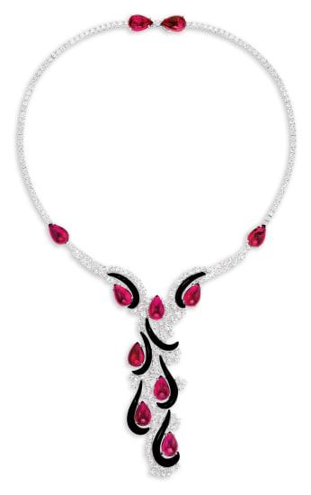 A Rubellite Tourmaline, Onyx and Diamond Necklace