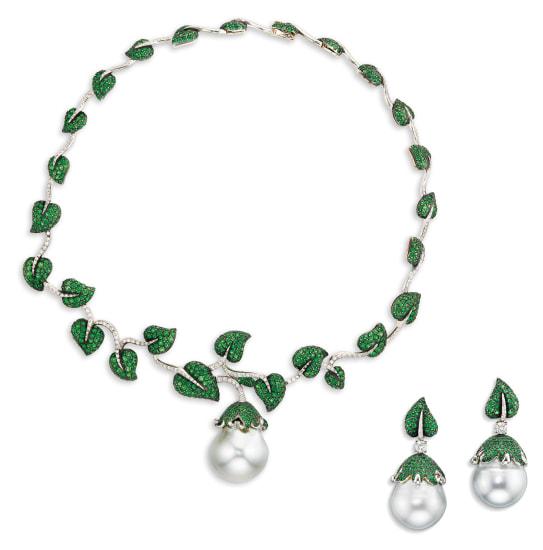 A Cultured Pearl, Tsavorite Garnet and Diamond Demi-Parure
