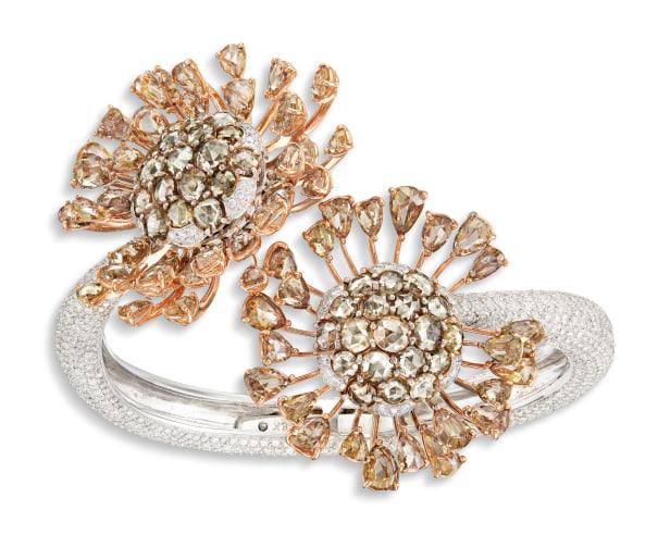 A Coloured Diamond and Diamond 'Flower' Bangle