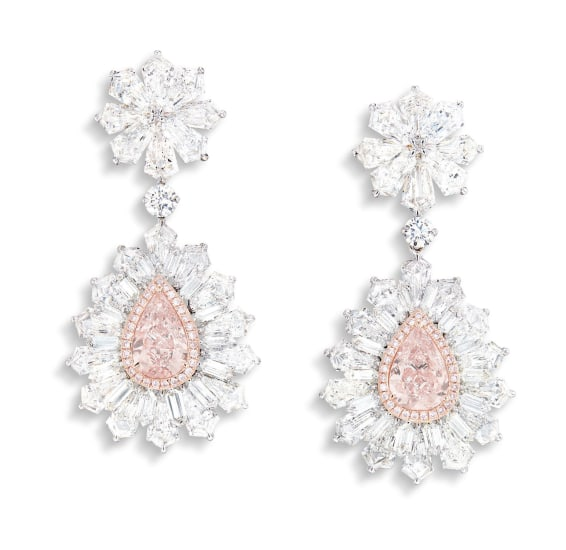 A Pair of Pink Diamond and Diamond Pendent Earrings