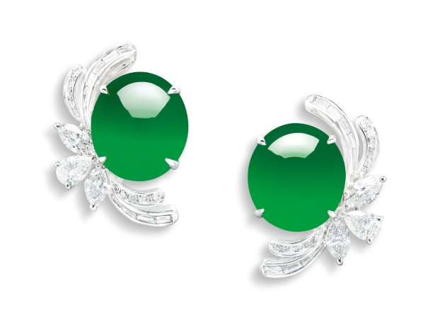 A Pair of Jadeite Cabochon and Diamond Earrings