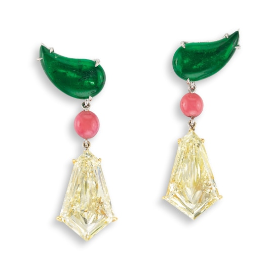 A Pair of Light Yellow Diamond and Gem-set Pendent Earrings