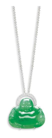 A Jadeite 'Buddha' and Diamond Pendant