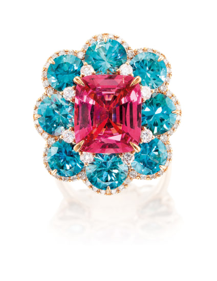 A Pink Spinel, Blue Zircon and Diamond Ring, Stewart Young