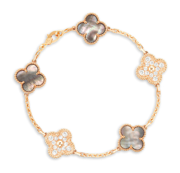 A Mother-of-Pearl and Diamond 'Alhambra' Bracelet