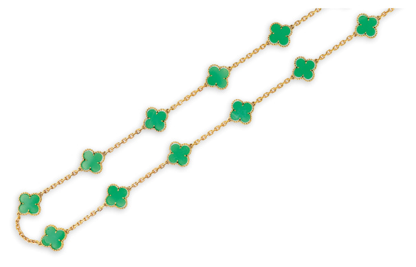A Green Chalcedony 'Alhambra' Necklace