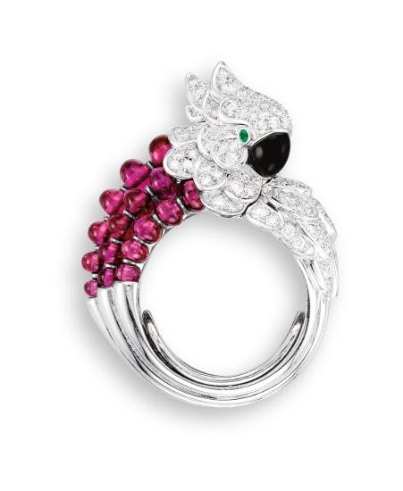 A Gem-set and Diamond Ring, 'Les Oiseaux Libérés'