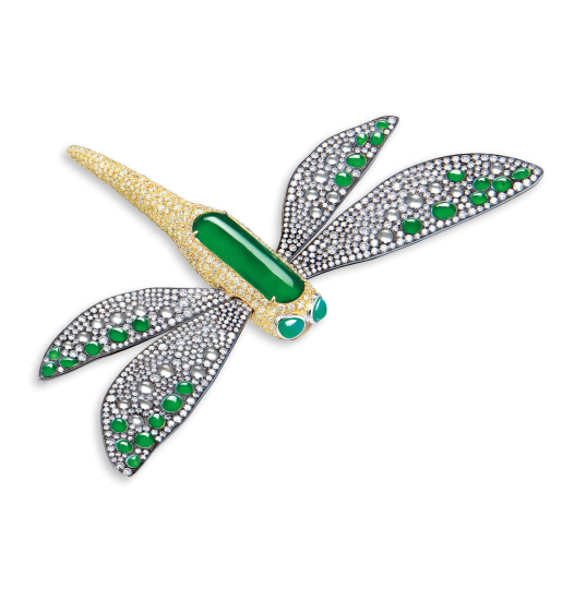 A Jadeite, Icy Jadeite and Diamond 'Dragonfly' Brooch