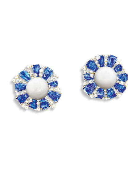 A Pair of Clam Pearl, Sapphire, Seed Pearl and Diamond Ear Clips