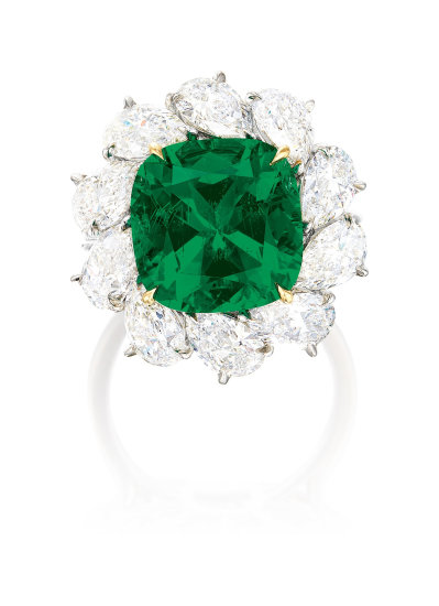 A Very Fine Emerald and Diamond Ring