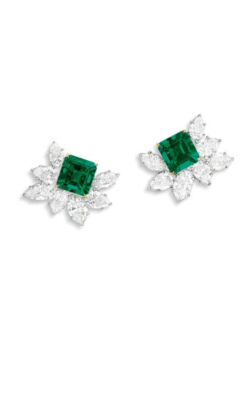 A Very Fine Pair of Emerald and Diamond Ear Clips