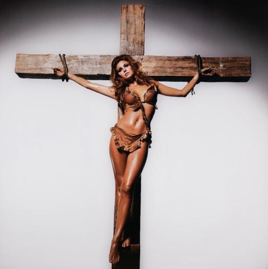 Raquel Welch on the cross
