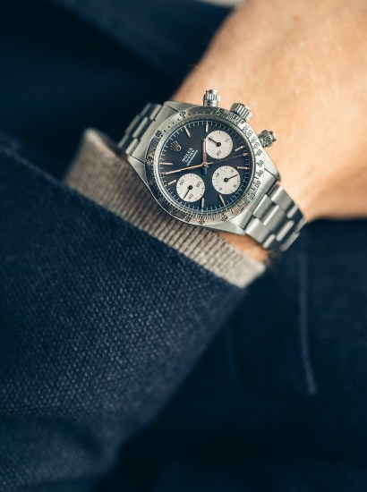 A stainless steel chronograph wristwatch with bracelet, Ref 6265 with sigma dial