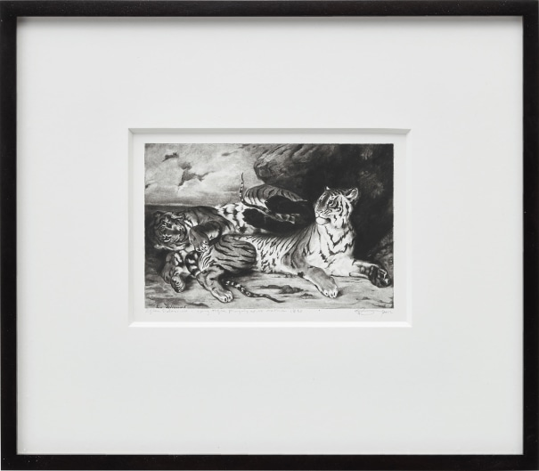 Untitled (After Delacroix, A Young Tiger Playing with Its Mother, 1830)