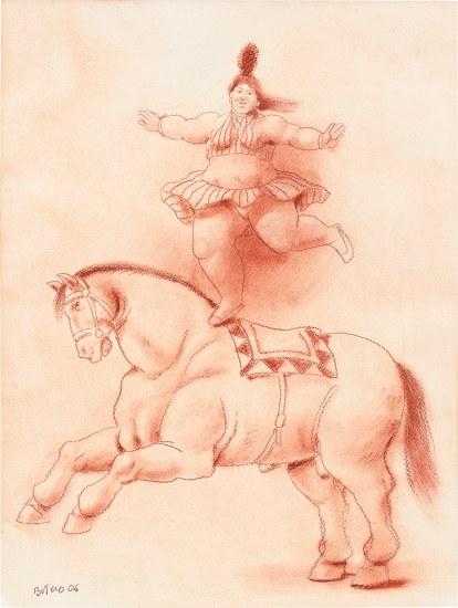 Danseuse équilibriste à cheval