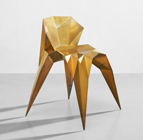 'SQN1-F2B-Brass' chair, from the 'Triangulation Series'