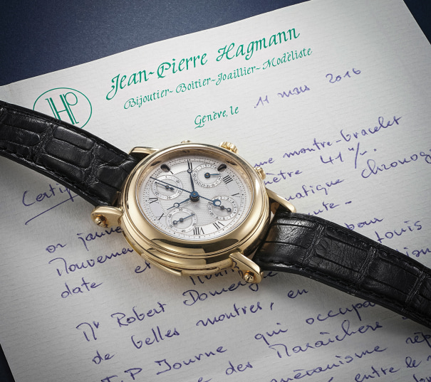 A unique automatic minute repeating yellow gold chronograph wristwatch with date, F.P. Journe repeating mechanism and J.P. Hagmann case