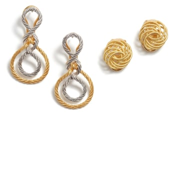 Buccellati Two Pairs of Gold 'Oro Collection' Earrings Sold for $ 1,750. Jewels & More: Online Auction