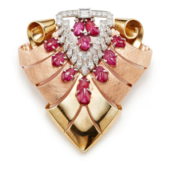 40a9fd8e5 A Retro Ruby, Diamond, Platinum and Gold Brooch Jewels & More: Online  Auction